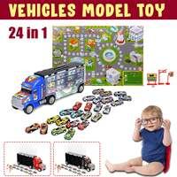 Big Container Truck 24PCS Pull Back Mini Car Game Map Vehicles Model Toy for Kid Boy Girl Christmas New Year Birthday Gift