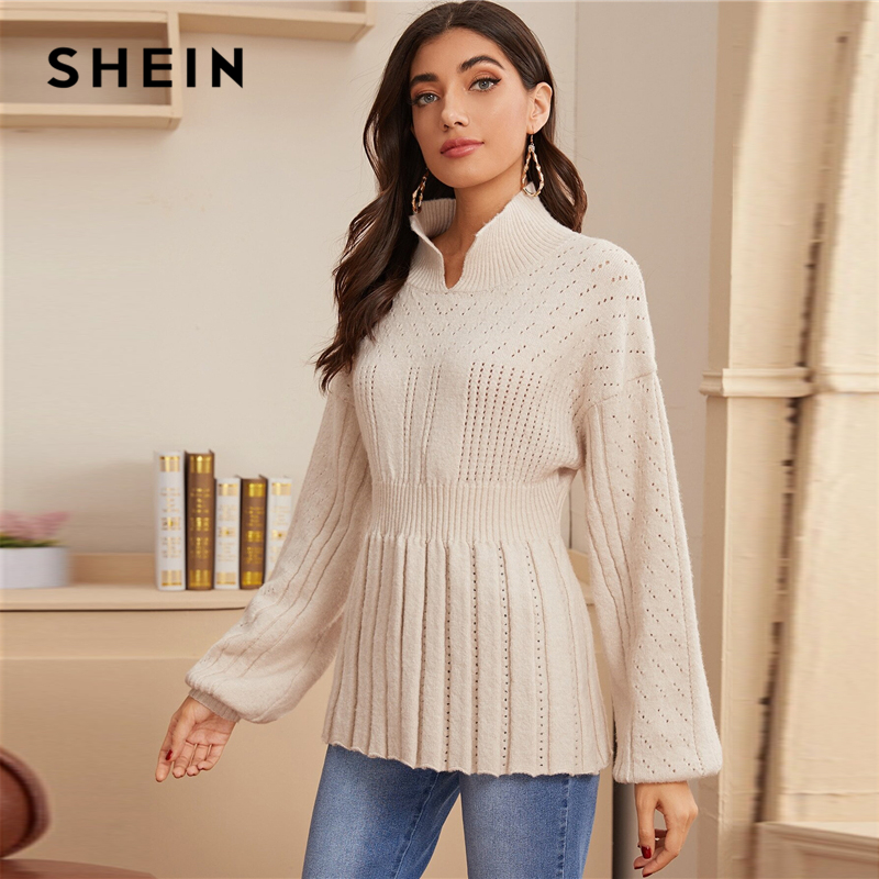 SHEIN Beige Lantern Sleeve Pointelle Knit Ribbed Hem Peplum Sweater Spring Stand Collar Pleated Solid Casual Cute Sweaters 2