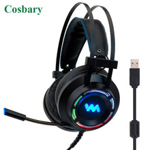 Cosbary Gaming Headset with Microphone USB Wired 7.1 Surround Sound Game Headphone for PC Gamer Computer Laptop Xbox edifier g20 game headphone 7 1 virtual surround sound gaming headset with rotatable unidirectional microphone usb game headset