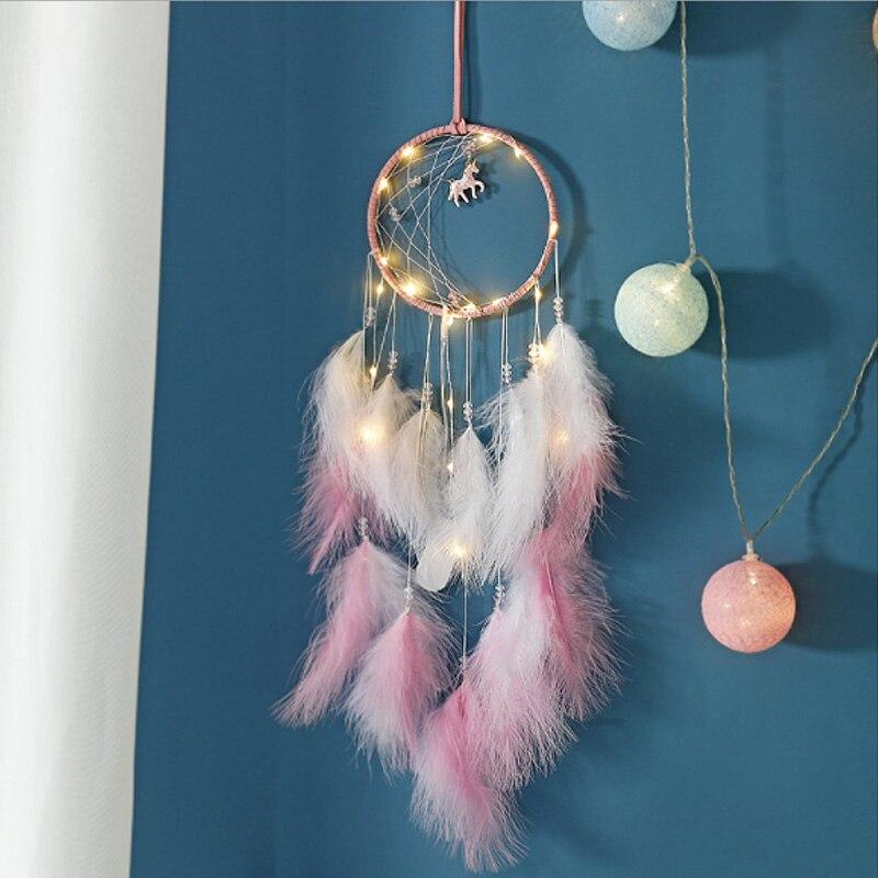 Rüya Catcher ay beyaz pembe tüyler duvar asılı rüzgar çanları nordic dekorasyon ev tek boynuzlu at el yapımı Dreamcatcher zanaat hediye