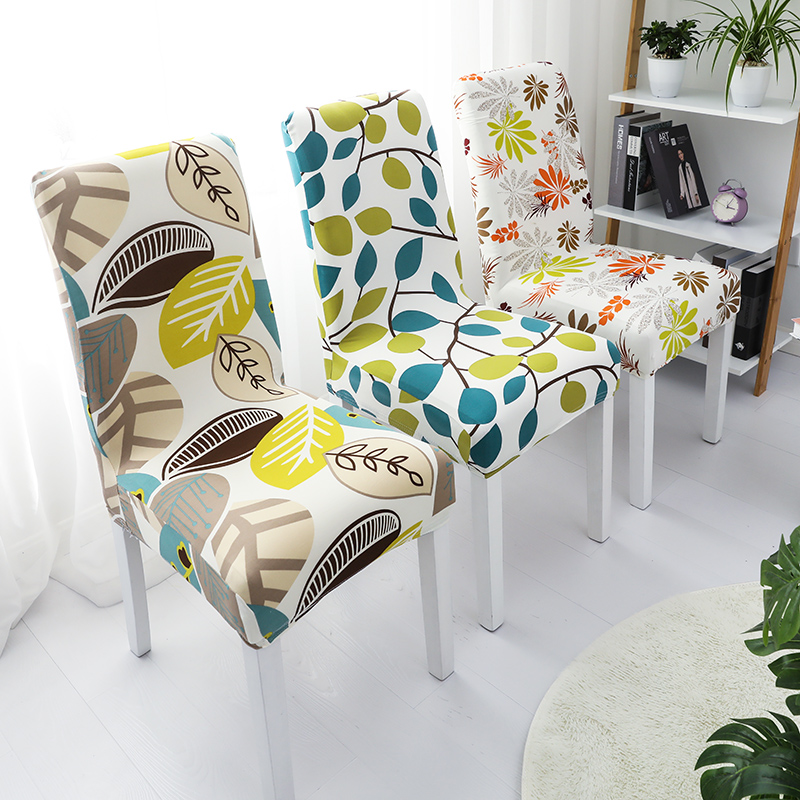 1pc Spandex Printing Chair Cover Stretch Elastic Dining Seat Cover for Banquet Wedding Restaurant Hotel Anti-dirty Removable 1