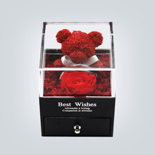 Handmade Preserved Real Rose Jewelry Box Holder Immortal Flowers Forever Blossom Wedding Valentine's Day Gift Set for Women