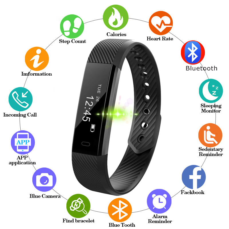 Pedometer Wristband Fitness-Tracker Smart-Watch Bluetooth Waterproof Android for IOS