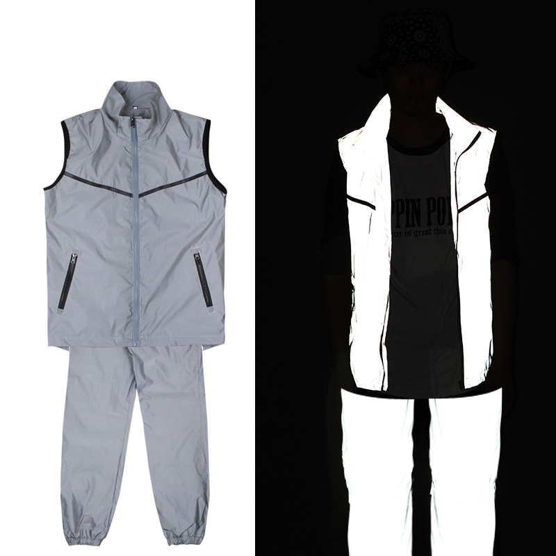 Hip Hop Dance Costumes Adults Street Dancing Clothes Stage Outfit Jazz Team Performance Reflective Fabric Vest Coat Pants DN5358