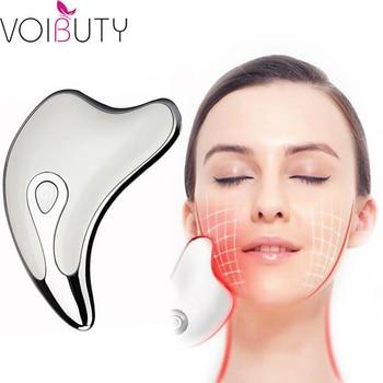 Masajeador para el cuello de la cara Guasha, dispositivo de eliminación de arrugas, masajeador adelgazante para el cuerpo, herramienta de raspado para el cuidado de la belleza de la piel Facial Electirc