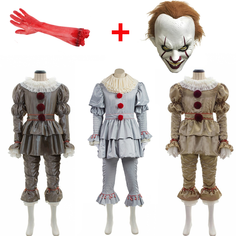 Movie It Chapter Two Pennywise Joker Clown Cosplay Costumes  Mask Unisex Halloween Stephen King's It Outfit Suit