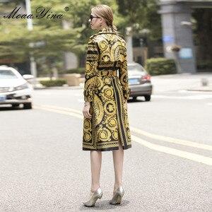 Image 3 - MoaaYina Mode Windjacke Mantel Herbst winter Frauen langarm Vintage Print Spitze Up warm Halten Mantel