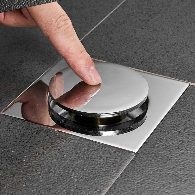 Image 2 - IIBizza Pop Up Foot Floor Drain Brass Chrome Plated Bathtub Push Down Deodorization type Square Modern Floor Cover Plug 10*10cmDrains   -