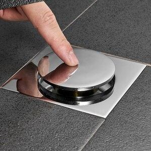 Image 2 - Pop Up Foot wpust podłogowy mosiądz chromowany antyzapachowy odpływ do kąpieli pushdown dezodoryzacja kwadratowy matowy prysznic pokrywa wtyczka 10*10cm