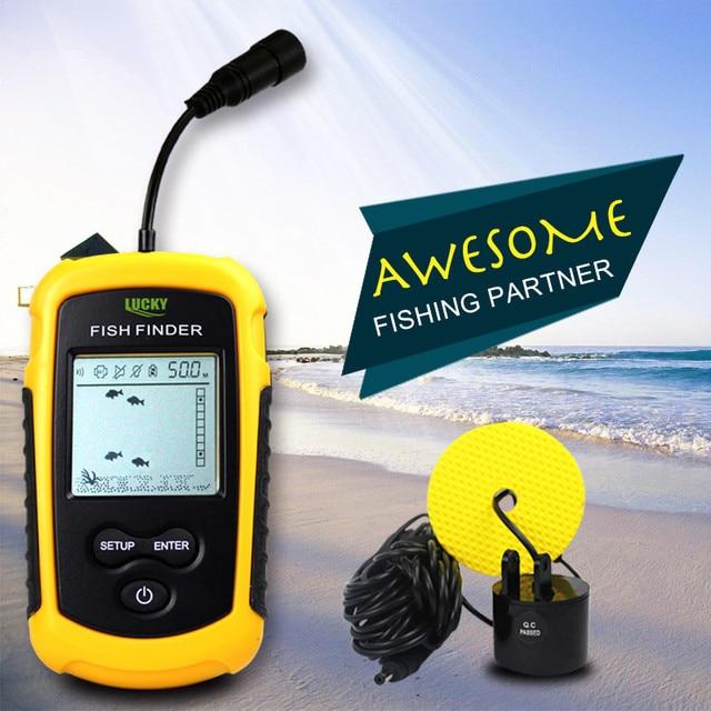 Buscador de peces portátil, Lucky FF1108 1 profundidad del agua y temperatura Fishfinder con Sensor de Sonar con cable transductor buscador de peces