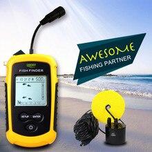 Tragbare fisch Finder, Glück FF1108 1 Wasser Tiefe & Temperatur Fishfinder mit Verdrahtete Sonar Sensor Transducer fish finder