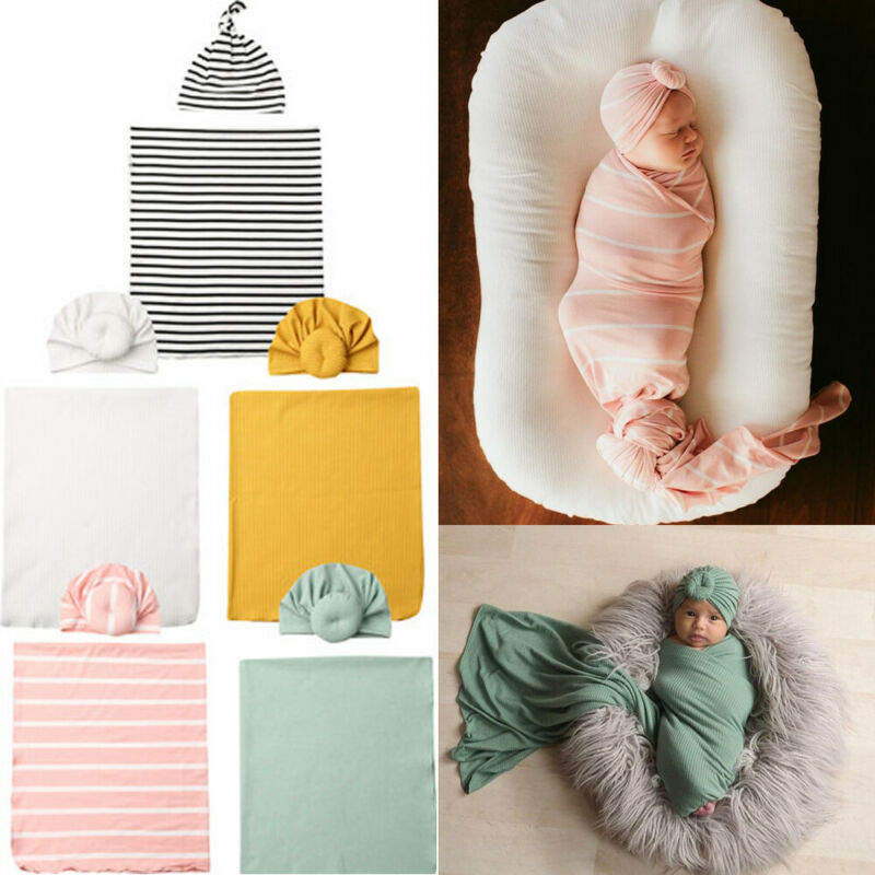 Emmababy Newborn Baby Boys Cocoon Solid Color Swaddle Blanket Sleeping Swaddle Muslin Wrap Hat Set