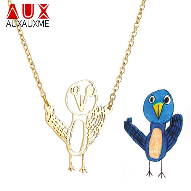 Auxauxme-collier dessin personnalisé pour enfants, collier Art pour enfants, en acier inoxydable, avec prénoms, cadeau de noël