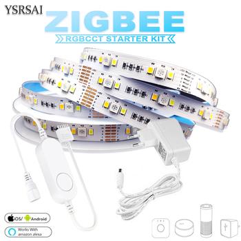 Zigbee RGBCW mini kontroler 1-5M DC12V 5050 RGB + CCT 90 leds m LED Strip zestaw zasilający światło dla ZIGBEE 3 0 HUB-E Echo Plus APP tanie i dobre opinie YSRSAI CN (pochodzenie) SALON 50000 PRZEŁĄCZNIK Taśmy 7 36 w m Edison RGBCCT zigbee-5050-miniRGBcct 90(30LEDs-RGB 30-White 30-Warm White)