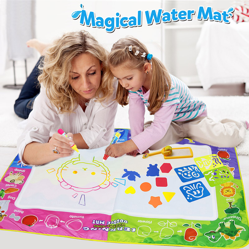 Big Size 150x100cm Magic Water Mat With 4 Pcs Doodle-Pens Stamp Tools Water Drawing Painting Mat For Kids Educational Toys  [
