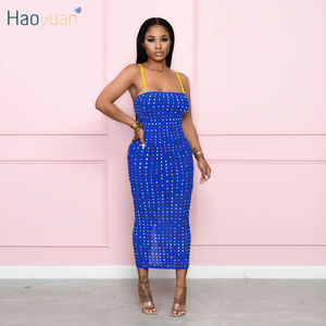 HAOYUAN Sexy Rhinestone Bodycon Midi Dress Spaghetti Strap Side Split Birthday Dress for Women Vestido Fall Clothes Club Dresses