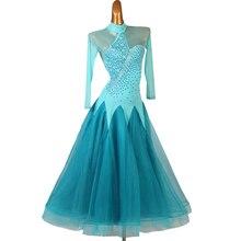 Women Ballroom Dance Dress Modern Waltz Standard Competition Blue Dress