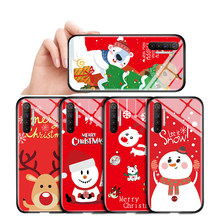 For OPPO Realme 1 2 3 5 Pro Q XT X2 X U1 C2 Shockproof Christmas Case Xmas Tree Snowman Deer ELK Glass Casing Protective Cover(China)