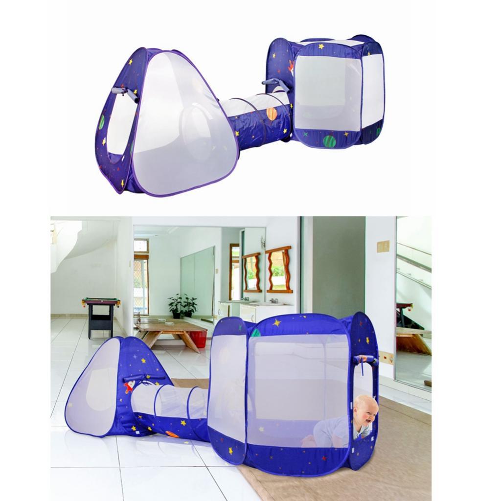Tente de jeu pour enfants 3-en-1 avec Tunnel, tente de fosse à balles Design pliable rapide avec sac de rangement à glissière