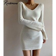Mini abito Sexy scollo a v profondo Rockmore donna manica lunga svasata attillata sopra il ginocchio abiti Streetwear Solid Pure Basic Dress Party