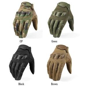 Image 3 - 軍事黒手袋戦術ミトンフルフィンガーロング手袋保護タッチスクリーン軍swat迷彩エアガンペイントボール男性