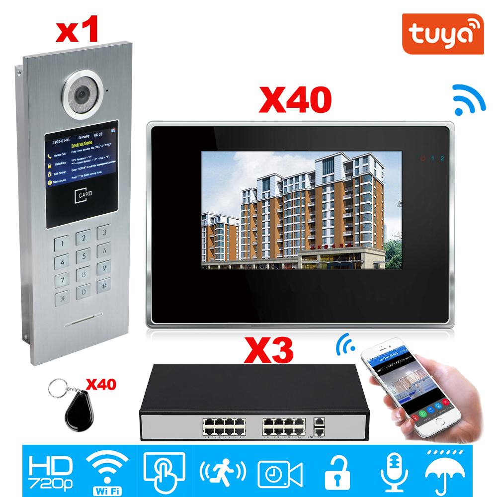 Tuya Smart APP Supported WiFi Video Door Phone IP Video Intercom Security Home Access Control System Keypad/IC Card/POE 1 TO 40