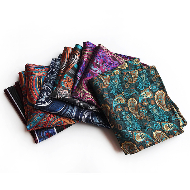 Paisley Big Man Sticks To Suit Pocket Cloth, Polyester Material And High Precision Embroidered Handkerchief Pocket Square