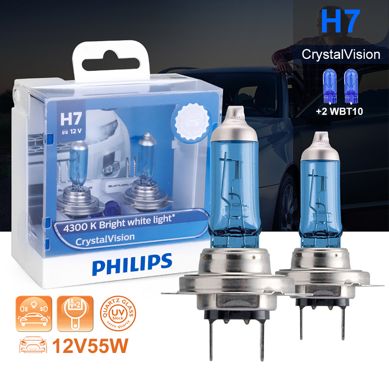 Philips H7 Halogen 55W 12V Crystal Vision 4300K Bright White Light Auto Lamp H7 Headlight T10 Gift Original Car Accessories 2PCS