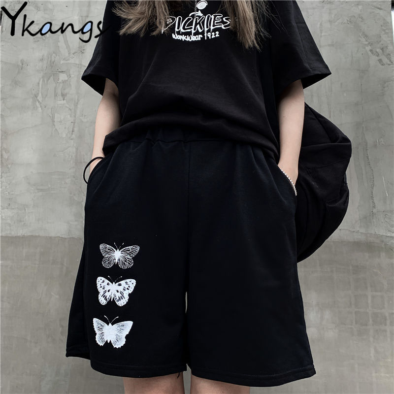 Butterfly print casual Straight women's shorts solid baggy elastic high waist wide leg shorts harajuku streetwear loose shorts 1