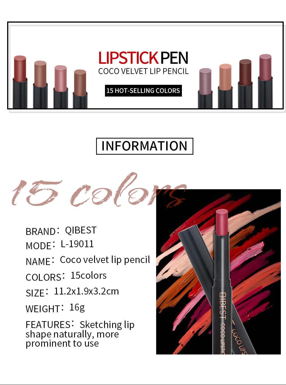 15 Warna Beludru Matte Tahan Lama Tahan Air Tanpa Memudar Non-Stick Cup Lipstik Pena Nude Seksi Lipstik Lip Liner