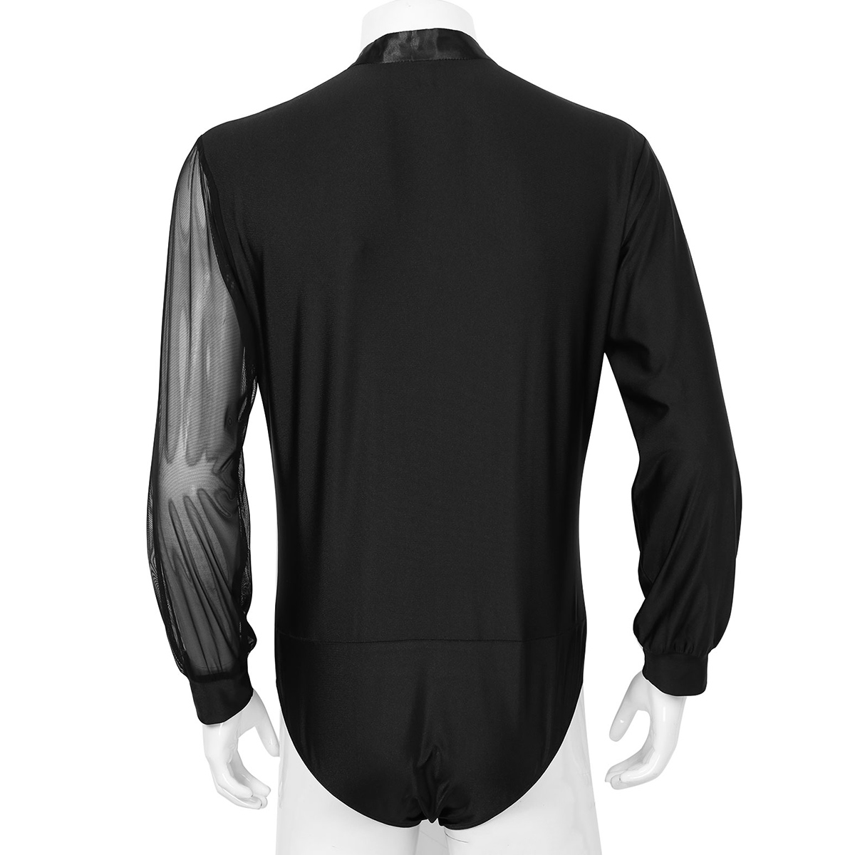 iiniim Mens Long Sleeve Shiny Rhinestones Latin Dance Shirt Leotard Bodysuit Dancewear