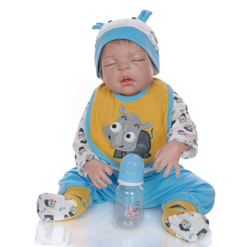 "23"" Full silicone reborn baby doll newborn babies boy closed eyes hair rooted bebe reborn menino kids gift toys"