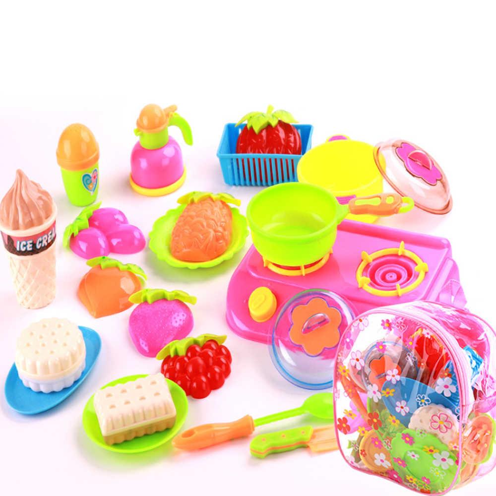 22 sztuk dla dzieci dziewczyny symulacja zestaw zabawek kuchennych dla dzieci dom zabaw dla dzieci zabawki dziewczyna wyciąć owoce i warzywa kuchnia sztućce gotowanie zabawka