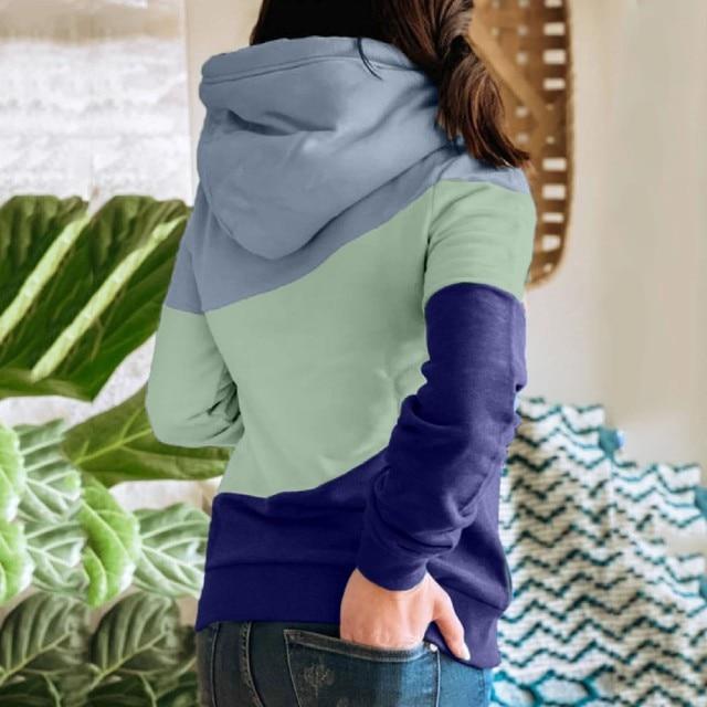 Female Hoodies Women Oversized Sweatshirts Autumn Winter Contrast Stitching Long Sleeve Pullover Top Warm Women's Clothing#LR2 3