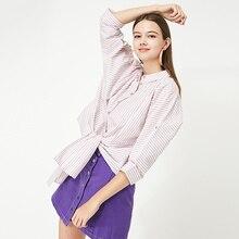 Vero Moda Women's Lace-up Hemline 100% Cotton Striped Shirt | 319231526