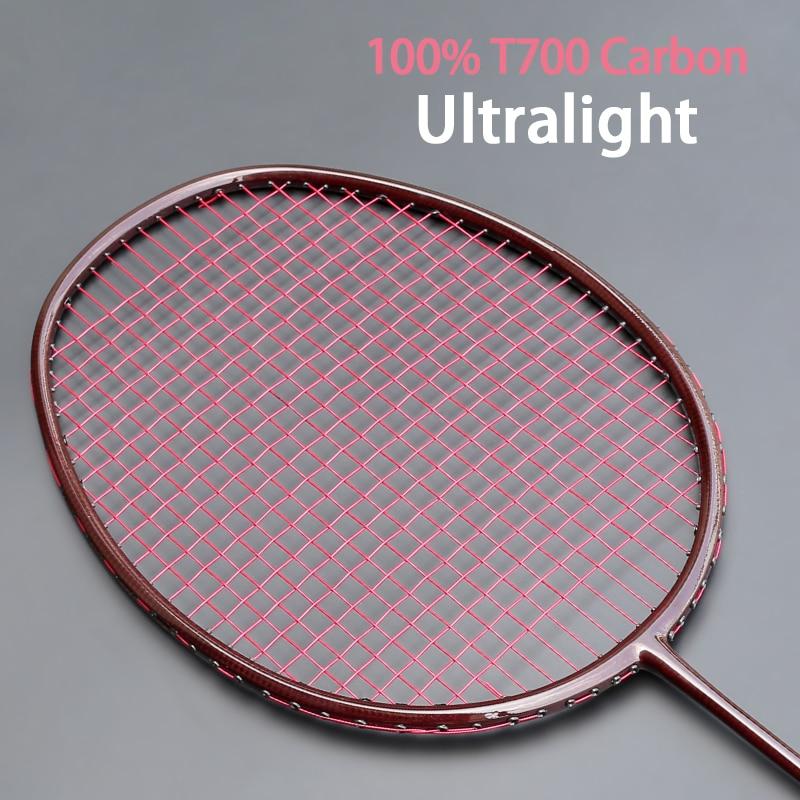 Ultarlight 100% Carbon Fiber Weave  Badminton Racket Strung String Bags Professional Racquet Rackets 22-32LBS Sports Padel Speed