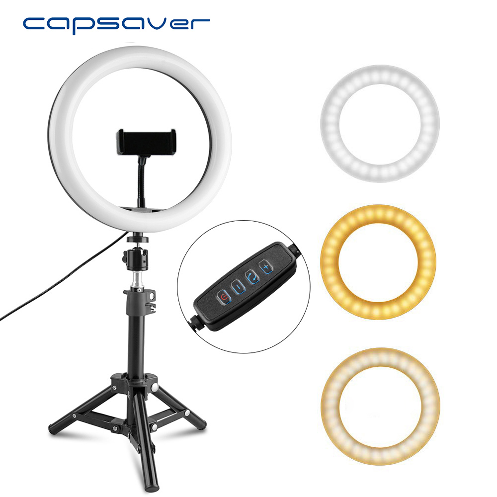 capsaver RL 10 26cm Mini LED Ring Light USB Ring Lamp Makeup Vedio Light with Phone Holder Tripod Dimmable Selfie Ring Light|Photographic Lighting| |  - title=