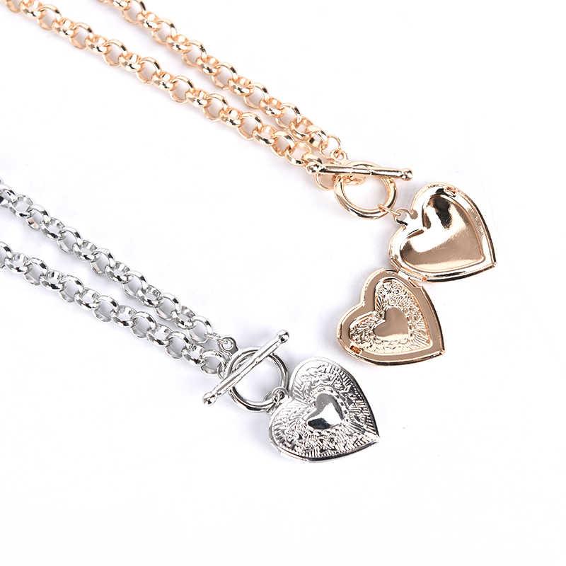 Gorące serce w kształcie ramki na zdjęcia wisiorek naszyjniki biżuteria duży gruby łańcuch krótki naszyjnik medalion prezent