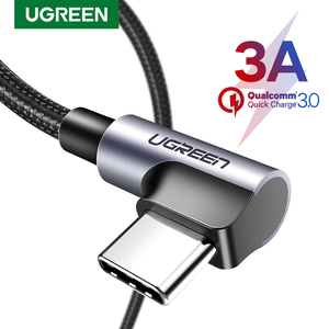 Ugreen USB C Cable for Samsung S9 S10 Plus Quick Charge 3.0 Right Angled USB Type C Fast Charger Data Cable for Game USB-C Wire(China)