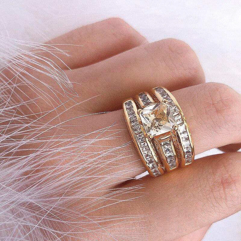 Anillo joya de oro de 14K con circonita, conjunto de 3 uds., venta al por mayor en Europa, anillo de estrella de cine Vintage con diamantes de lujo para compromiso de señora y matrimonio