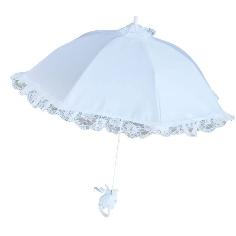 2021 New Wedding Bridal Parasol Umbrella Hollow Lace White Romantic Photo Props Decorative Umbrellas Flower Girl