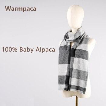 black gray Warmpaca 100% premium baby alpaca scarf ladies' shawl gray beige black