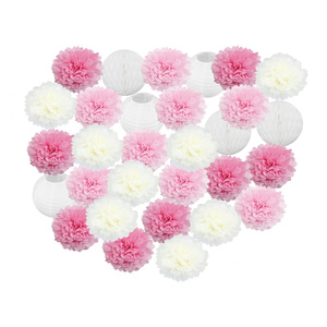 30 шт./компл. розовые, белые, зеленые круглые подвесные бумажные фонарики, помпон тканевый шар в виде сот, набор для свадебной тематики, вечерн...