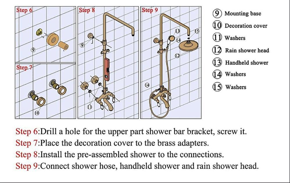H354c88f9485642b49fa877768197e490I Digital Shower Set Luxury Black Gold Thermostatic Shower System Rainfall Spa Shower Head Brass Bathtub Faucet Digital Shower Set