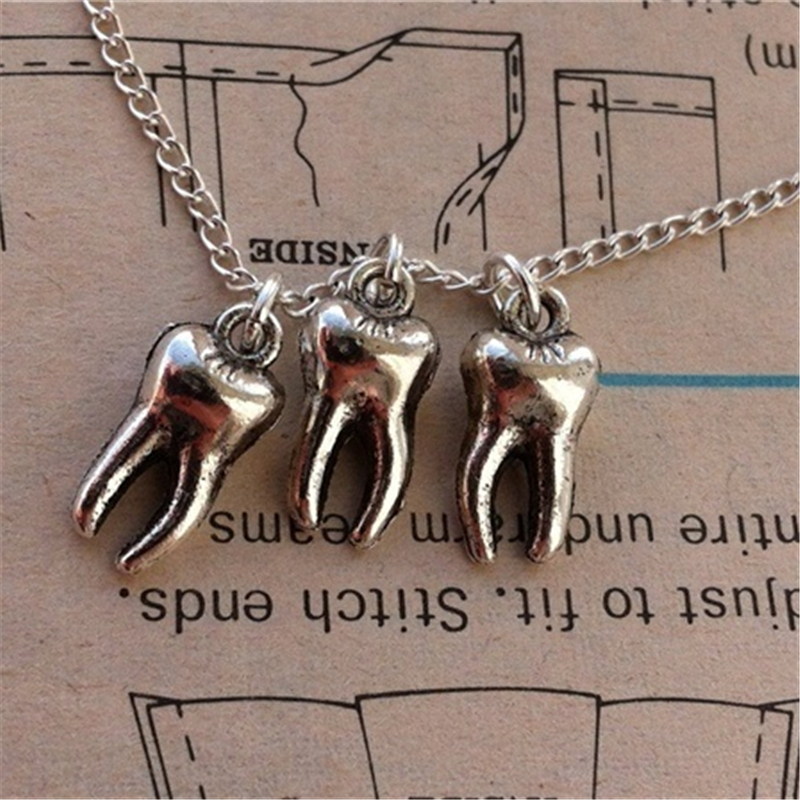 Antique Silver Color Tooth Pendant Necklace Fairy Necklace for Girls Women