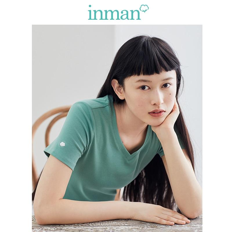 INMAN 2020 Spring New Arrival Literary Elastic Thin Basic All-match Female T-shirt