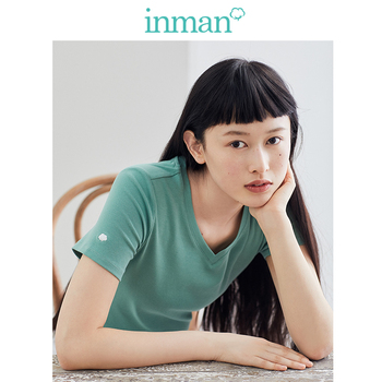 INMAN 2020 Spring New Arrival Literary Elastic Thin Basic All-match Female T-shirt - discount item  58% OFF Tops & Tees