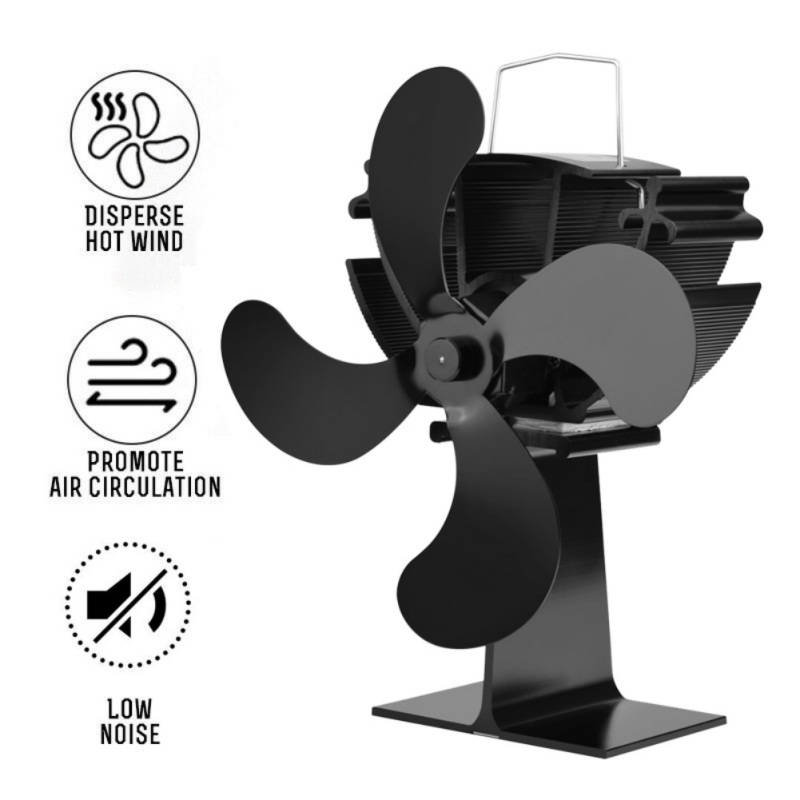 Heat Powered Fireplace Fan 4 Blades Wall Mounted Silent Eco-Friendly Stove Fan Circulating Warm Air Saving Fuel Efficiently