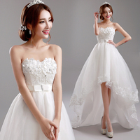 Special Offer~Lovely Sweetheart Front Short and Long Back Trailing Style Wedding Dress/Bride Wedding Gown859