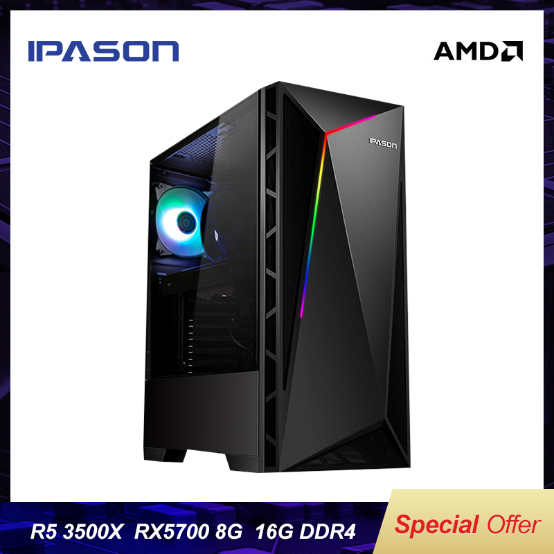IPASON Gaming PC AMD 3500X/RX5700 8G Desktop Computers 240G M.2 SSD/DDR4 16G RAM Full Set Of High-end PUBG Game Computers